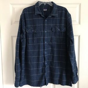 Patagonia Fjord Flannel Button Front Shirt Navy XL